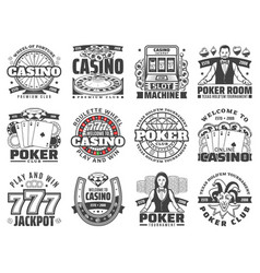 casino gambling games isolated icons vector image
