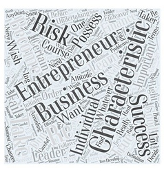 Characteristics of entrepreneur Word Cloud Concept vector