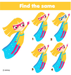 children educational game find same pictures vector image
