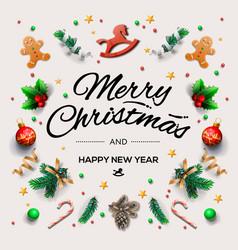 christmas postcard with calligraphic season vector image