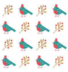 christmas seamless pattern birds and vector image