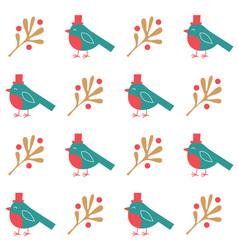 Christmas seamless pattern birds vector