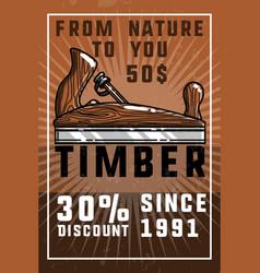 Color vintage timber banner vector