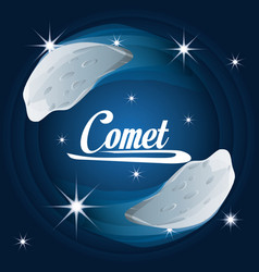 Comet in the nebulae galaxy in the universe vector