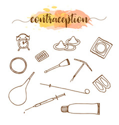Contraception methods hand drawn set birth vector