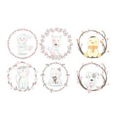 cute baanimal with flower frame cartoon hand vector image