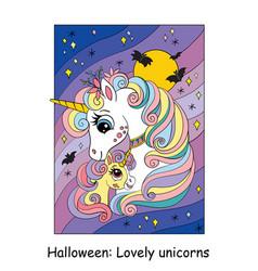 Cute mom and baby unicorn halloween cartoon vector