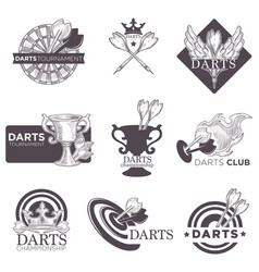 Darts game tournament sketch icons vector