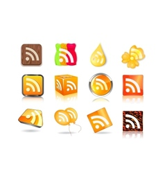 different style of rss icon set vector image