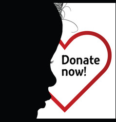 Donate heart with child silhouette art vector