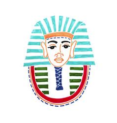drawing historical mask pharaoh tutankhamen vector image