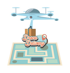 drone delivery service with paper map icon vector image