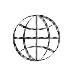Earth simplistic icon with pixel print halftone vector