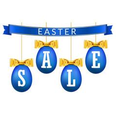 easter egg sale 3d banner set gold ribbon bow vector image