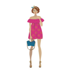 fashion model in the trendy pink fuchsia dress vector image