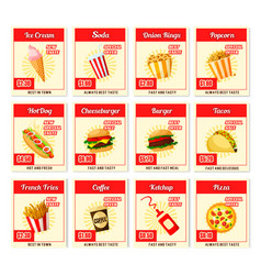 Fast food restaurant menu price cards vector