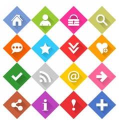 Flat basic icon set rounded rhomb web button vector