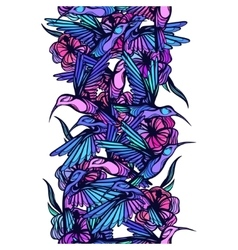 Flying tropical hummingbirds with flowers seamless vector image