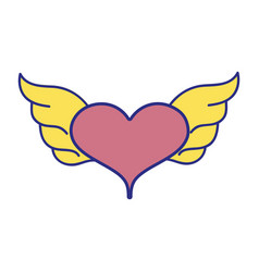 Full color heart with wings symbol love art vector