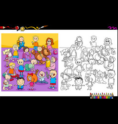 funny children characters coloring book vector image