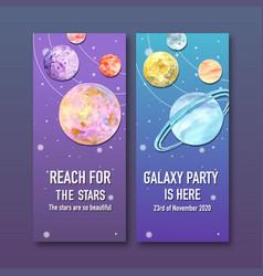 Galaxy flyer design with venus neptune saturn vector