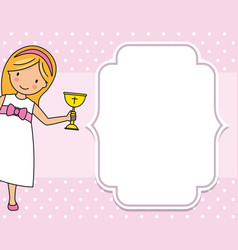 Girl communion card child with a chalice vector