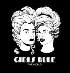 girls rule world hand drawn of vector image
