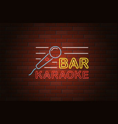 glowing neon signboard karaoke bar on brick wall vector image