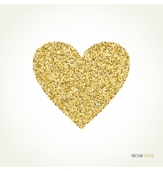 Gold glitter heart on white background vector