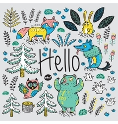 Hand drawn card with cartoon animals and text vector