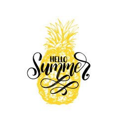 Hand lettering hello summer inspirational vector