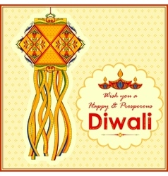 Hanging kandil lamp and diya for Diwali decoration vector