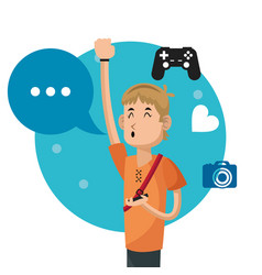 Happy man social media camera controller bubble vector