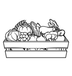 Harvest of box with seasonal fruits vector