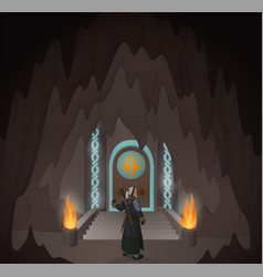 Hero in the mystic cave vector