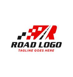 Highway asphalt logo with letter r vector
