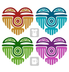 Indian pattern in the shape of heart vector
