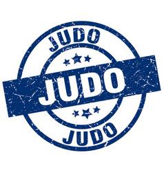 Judo blue round grunge stamp vector