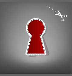 Keyhole sign red icon vector