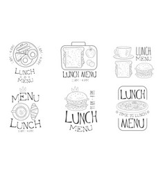 lunch menu hand drawn retro labels set time to vector image