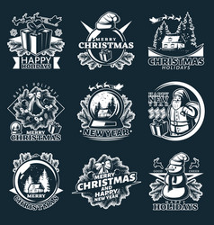 Merry christmas emblem set vector