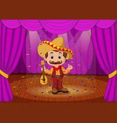 Mexican man with sombrero and guitar on stage vector