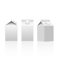 milk or juice carton packaging package box white vector image