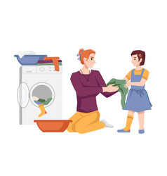 mother daughter washing clothes together laundry vector image