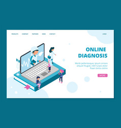 online diagnosis landing page isometric doctor vector image