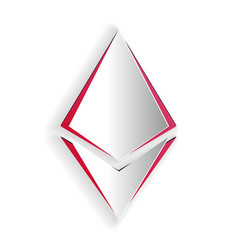 Paper cut cryptocurrency coin ethereum eth icon vector