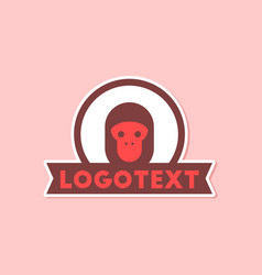 Paper sticker on stylish background monkey logo vector