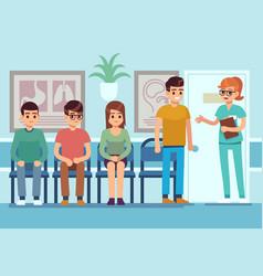 Patients in doctors waiting room people wait hall vector
