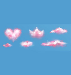 pink clouds in crown and heart shape in sky vector image
