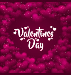 pink hearted background with a valentines day vector image